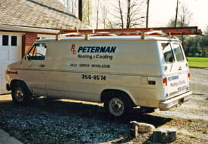 Pete Peterman Heating Cooling Plumbing first work van